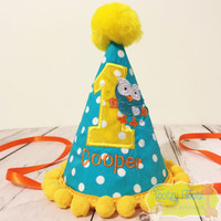 Hoot Inspired Hat (Yellow Pom Pom Trim)