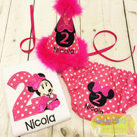 Cake Smash 3 Piece Set - Minnie Mouse Inspired (Pink Polka Dot) <Top, Hat, Nappy Cover>