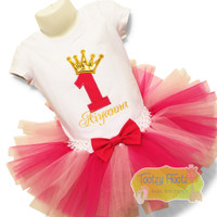 Birthday Number (Hot Pink) with Crown (Gold) Set