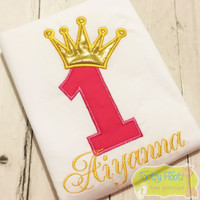 Birthday Number (Hot Pink) with Crown (Gold)