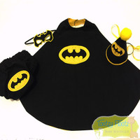 Batman Inspired 4 Piece Cake Smash Set [CAPE, NAPPY COVER, HAT, MASK]