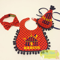 Cake Smash 3 Piece Set - Circus Themed <Hat, Bow Tie, Bib>