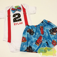 Lightning McQueen & Mater Inspired Birthday Set <Top with Red Faux Suspender, Licensed Fabric bow tie and shorts)