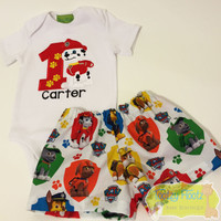 Paw Patrol (Marshall) Inspired Birthday Set <Top with Licensed shorts)