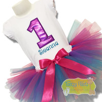 Purple Number with Turquoise Name Birthday Set