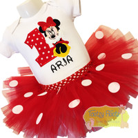 Minnie (Sitting) Inspired Tutu Birthday Set (Red & White Polka Dot Tutu)