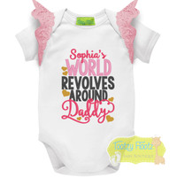 Fathers Day - My World Revolves Around Daddy with Baby Pink Flutters