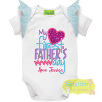 Fathers Day - My First Fathers Day (Hearts) Hot Pink, Purple, Aqua with Aqua Flutters