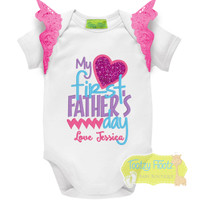 Fathers Day - My First Fathers Day (Hearts) Hot Pink, Purple, Aqua with Hot Pink Flutters