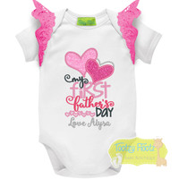 Fathers Day - My First Fathers Day (Double Hearts) with Hot Pink Flutters