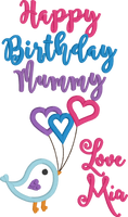 Happy Birthday Mummy - Love Bird With Balloon (Love *Name)