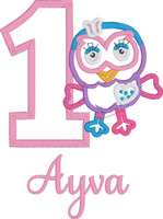 Reserved for Kayla L - Purple Owl - Pastel Pink Birthday Number + Pastel Pink & Purple Tutu