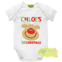 Reserved for Mandie Bradley 1st Christmas - Smilie Reindeer (Romper, Nappy Cover, Stand Alone Suspenders)