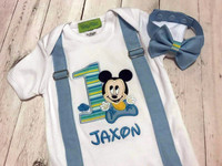 Reserved Listing for Nesha Agius - MICKEY MOUSE BABY INSPIRED (MULTI STRIPED NUMBER with FAUX SEWN IN SUSPENDERS AND BOW TIE
