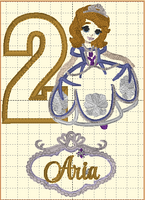 Sofia the First Inspired Birthday (Gold Number)