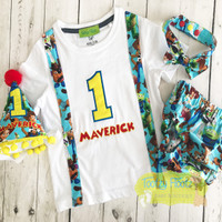 Toy Story Inspired Birthday Set <Onesie with sewn in suspenders, Nappy Cover, Bow Tie & Hat)