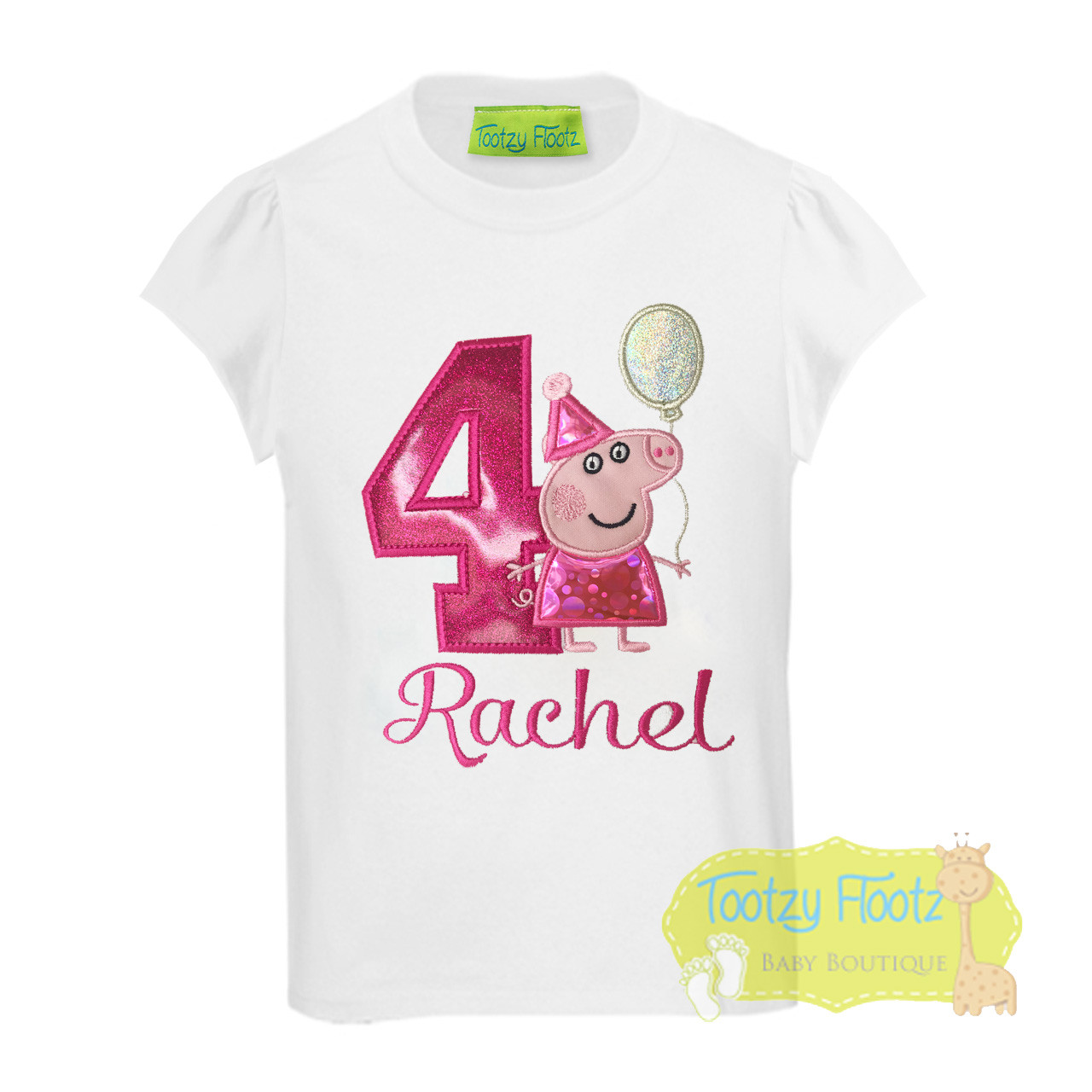 Peppa Pig Holding Balloon Inspired Birthday Hot Pink Number
