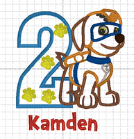 Katie Wilson Paw Patrol - Zuma - Inspired Birthday (Embroidery on the back - Happy 2nd Birthday Kamden)