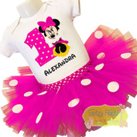 Minnie (Sitting) Inspired Tutu Birthday Set (Hot Pink & White Polka Dot Tutu)
