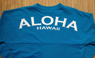 "Keiki ""Aloha Hawaii"" Long-Sleeved Football Jersey-White Print on Turquoise"