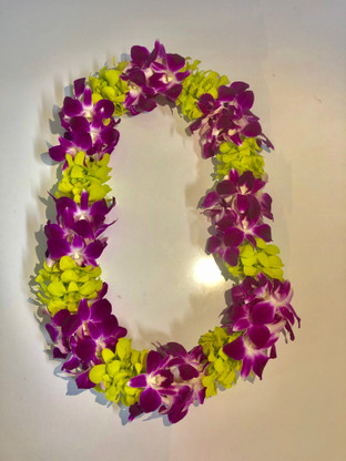Double Orchid Lei - Green & Purple