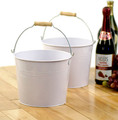 8.5 inch Round Metal Tin Pail with Wood Handle - White