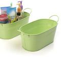 12 inch Oval Metal Tin Tub - Lime Green