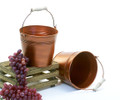 7 inch Round Copper Metal Pail with Folding Handle