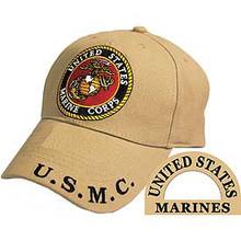 CAP-USMC LOGO,KHAKI (BRASS BUCKLE)