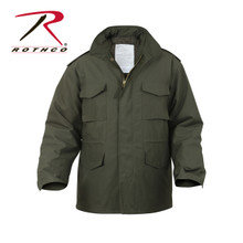 Rothco's M-65 Jackets are a classic piece of military outerwear. The jacket features a water repellent poly/cotton twill , four snap-up pockets , concealed hood, epaulets , waist hood and bottom drawstrings, removable button-in liner, hook & loop fastener cuffs for attachment to gloves and heavy brass zipper & snap up storm flaps. The M-65 Jacket is available in over 8 colors including woodland camo, ACU digital camo, Black, O.D and more. Colors and sizes ranging from XS to 8XL.