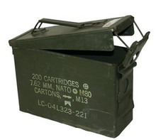 "USED .30 caliber ammo can, hinged lid with latch, rubber gasket in lid for tight seal, top carry handle.  Wear, scratches, rust, small dents, etc., may be present.  Approximate Dimensions 11""L X 3.75""W X 7.25""H"