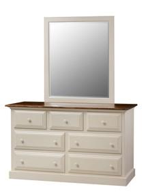 Pine 7-Drawer Dresser & Mirror