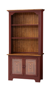Pine Bookcase w/ Base, Tin Doors