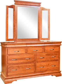 BF Heirloom Sleigh Dresser & Tri-View Mirror