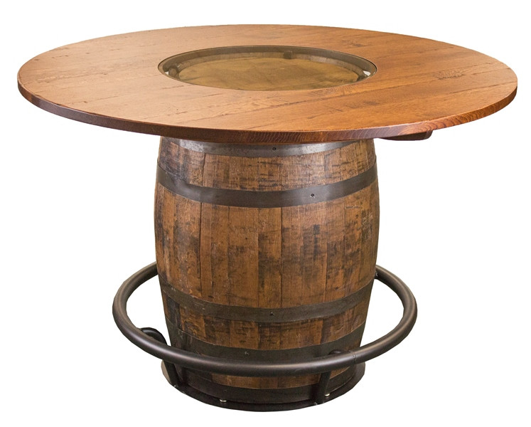 Whiskey Barrel Pub Table Wglass Inlay Whispering Pines Furniture