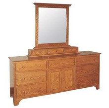 CWF410-451-468 Shaker Triple Dresser with Large Mirror and 3-Drawer Jewelry Box