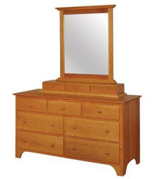 CWF412-451-468 Shaker Dresser with Large Mirror and 3-Drawer Jewelry Box