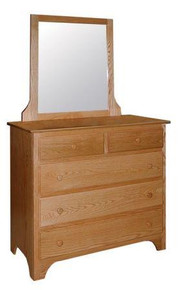 CWF414-452 Shaker 5-Drawer Dresser with Small Mirror