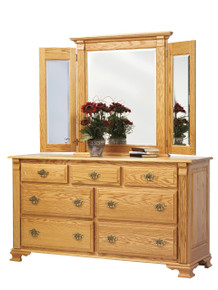"""MHF Journeys End 66"""" Dresser with Tri View Mirror"""