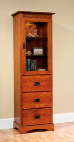 "MHF Old English Mission 23"" Bookcase with Drawers"