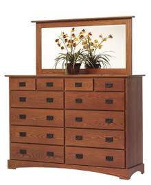 "MHF Old English Mission 66"" High Dresser With High Dresser Mirror"