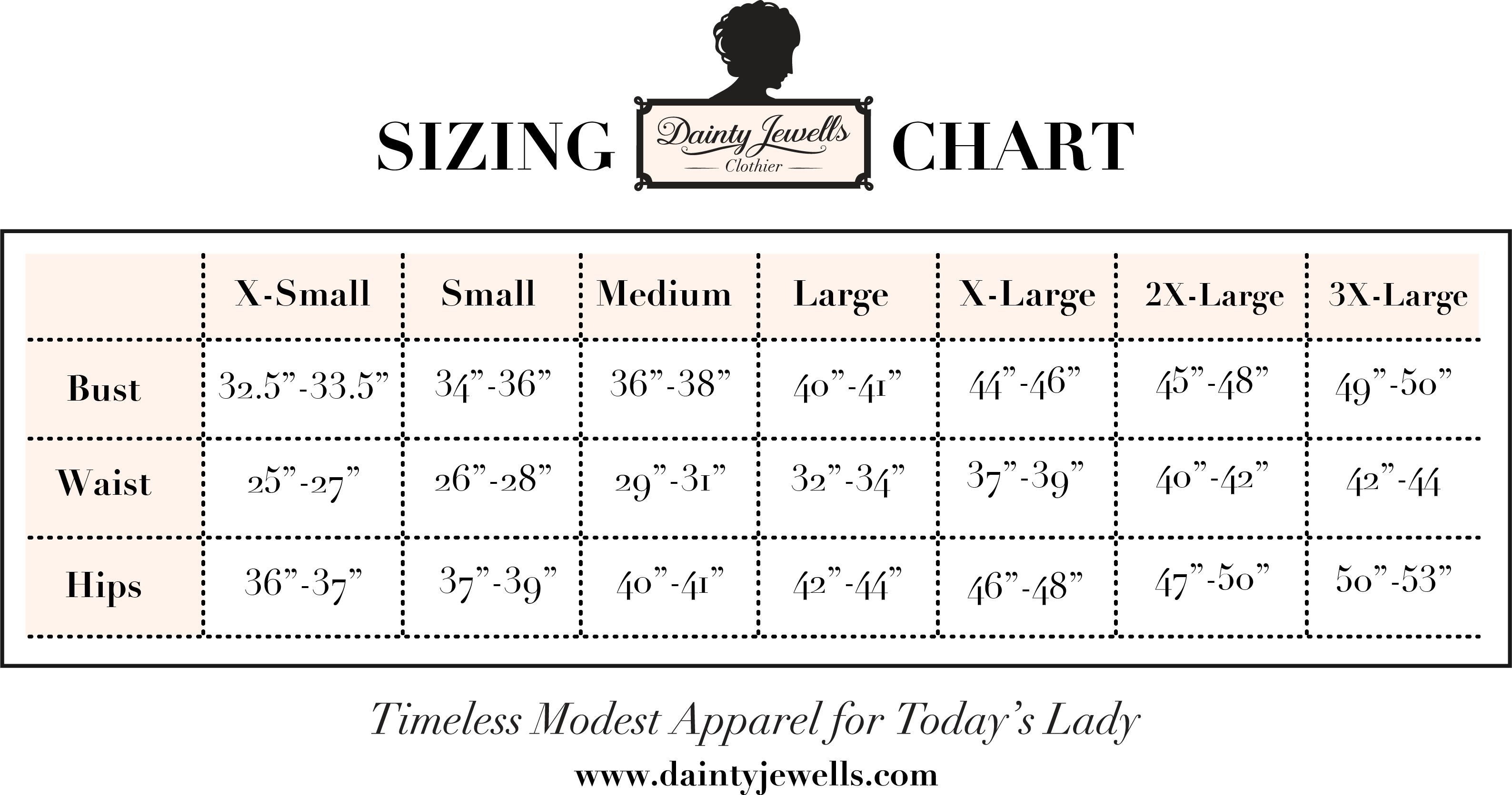 Size Chart Dainty Jewell S