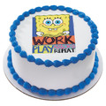 SpongeBob Work and Play ~ Edible Icing Image