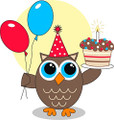 Owls Happy Birthday Edible Cake Topper for 8 inch round cake
