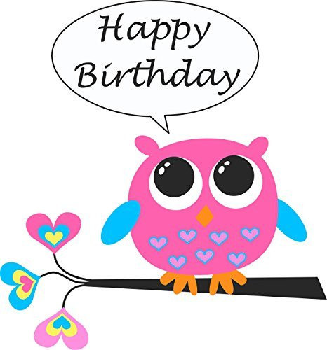 Owl Happy Birthday Edible Cake Topper For 8 Inch Round