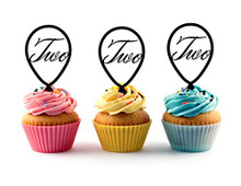 2nd (Second) Birthday Acrylic Cupcake Toppers 12pc  Decorate on cupcake, fruit or other desserts. It can be great addition to your party. Cupcake Toppers for your fairy cakes, cupcakes and celebration cakes Product friendly food safe Made in the USA