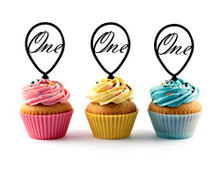 1st (First) Birthday Acrylic Cupcake Toppers 12pc