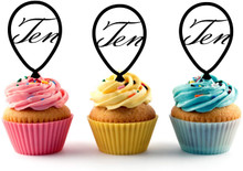 10th (Ten) Birthday Acrylic Toppers 12 (pcs)       Decorate on cupcake, fruit or other desserts. It can be great addition to your party.     Cupcake Toppers for your fairy cakes, cupcakes and celebration cakes     Product friendly food safe     Made in the USA