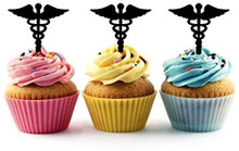Caduceus Medical Symbol Silhouette Acrylic Cupcake Toppers 12 pcs       Decorate on cupcake, fruit or other desserts. It can be great addition to your party.     Cupcake Toppers for your fairy cakes, cupcakes and celebration cakes     Product friendly food safe     Made in the USA