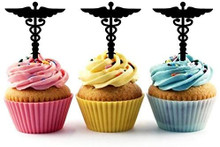Caduceus Health Care Medical Symbol Silhouette Acrylic Cupcake Toppers 12 pcs       Decorate on cupcake, fruit or other desserts. It can be great addition to your party.     Cupcake Toppers for your fairy cakes, cupcakes and celebration cakes     Product friendly food safe     Made in the USA